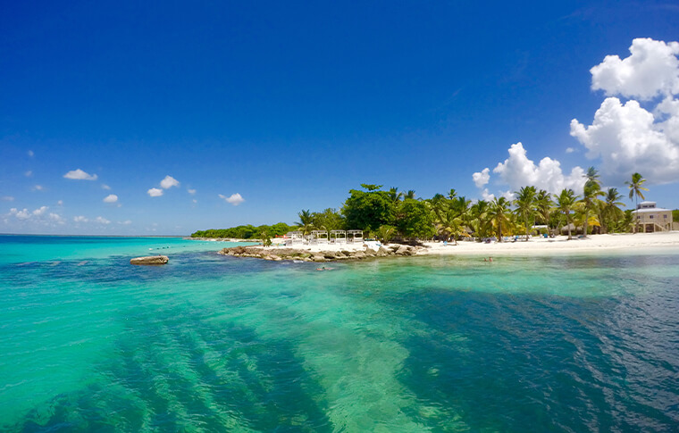 Tropical Saona Island with white sand and turquoise water