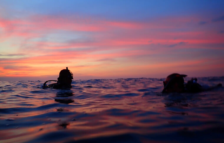 2 divers surfacing to an orange sunset