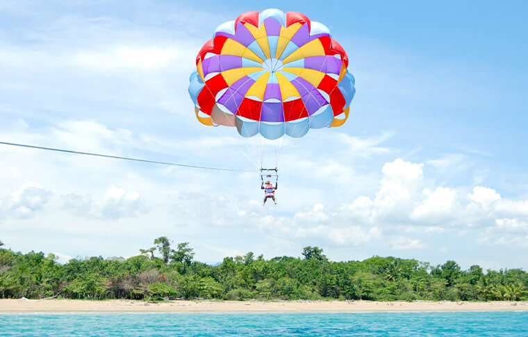 Parasailer mid flight above the white beach and palm tree coast