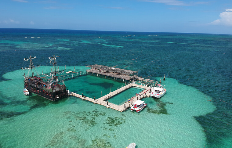 Birdseye view of a pier around a beautiful reef