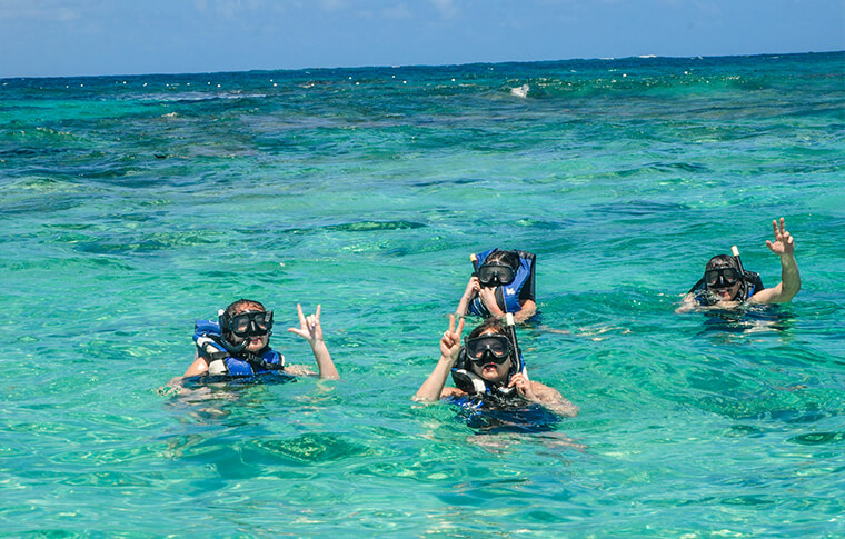 4 snorkelers in the water exploring the blue waters