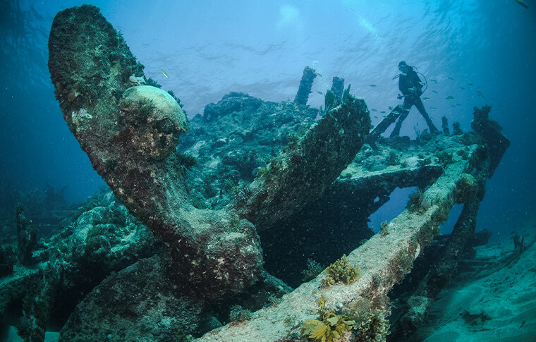 Lone diver exploring a shipwreck underwater