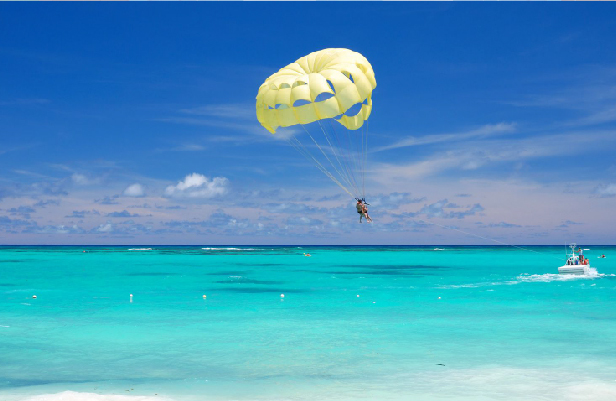 Parasailing over the turquoise waters